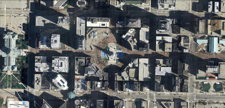 Aerial photo downtown Indianapolis Circle