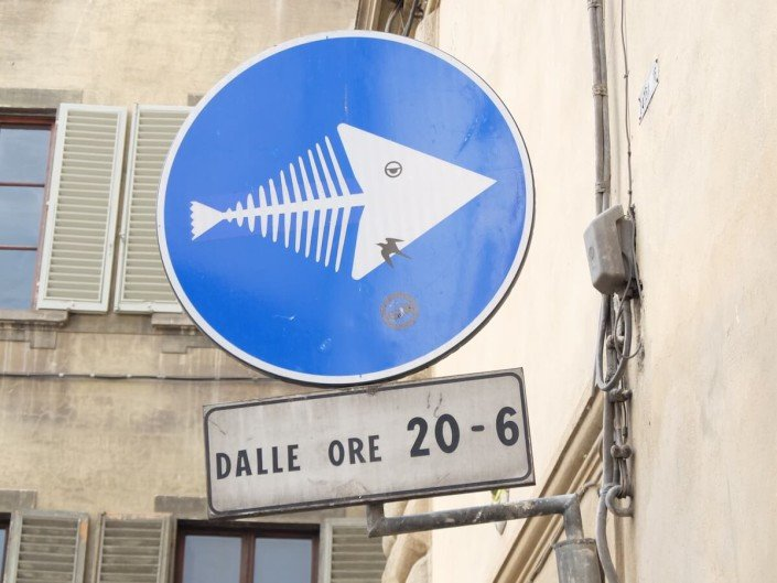 Florence Italy street art Clet Abraham this way fish