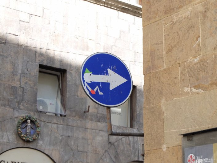 Florence Italy street art Clet Abraham this way pinocchio